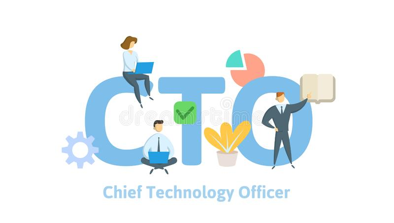 CTO, Chief Technology Officer. Concept with keywords, letters and icons. Flat vector illustration on white background. royalty free illustration