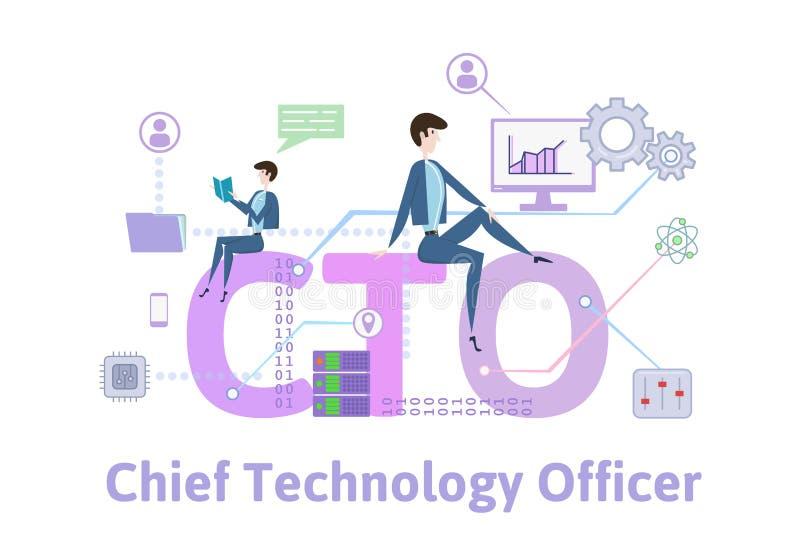 CTO, dirigeant en chef de technologie Table de concept avec des mots-clés, des lettres et des icônes Illustration plate colorée d illustration de vecteur