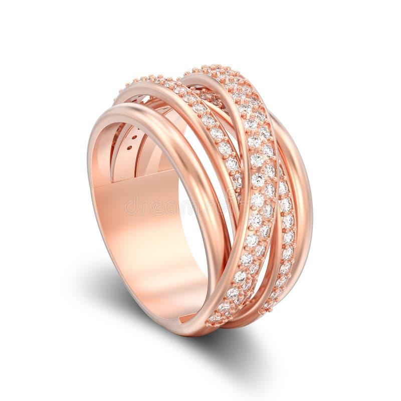 CTOC decorativas isoladas ilustração dos criss do diamante do ouro 3D cor-de-rosa ilustração royalty free