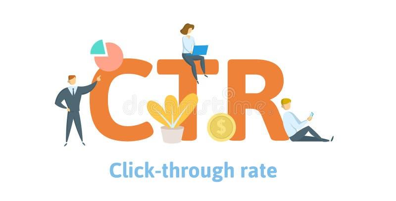 CTR, klikt trogtarief Concept met sleutelwoorden, brieven, en pictogrammen Vlakke vectorillustratie Geïsoleerd op wit stock illustratie