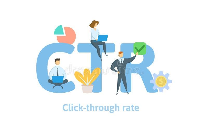 CTR, taxa da calha do clique Conceito com palavras-chaves, letras, e ícones Ilustração lisa do vetor Isolado no branco ilustração royalty free