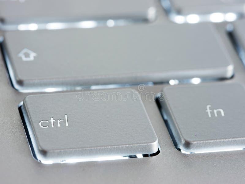 CTRL - chave de controle no teclado de prata do portátil imagem de stock