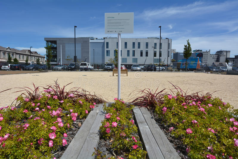 CTV建筑工地在克赖斯特切奇-新西兰 库存照片