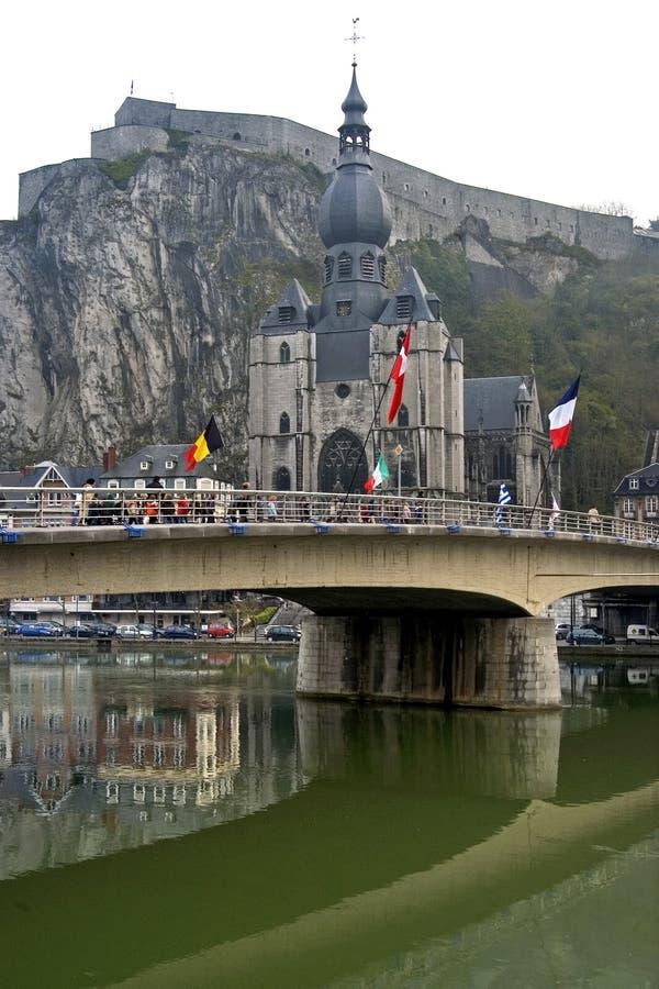 Cty-Ansicht der Kleinstadt Dinant, Belgien stockbilder