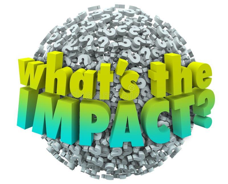 Cuál es el resultado Outcom de la consecuencia del efecto de los signos de interrogación del impacto ilustración del vector