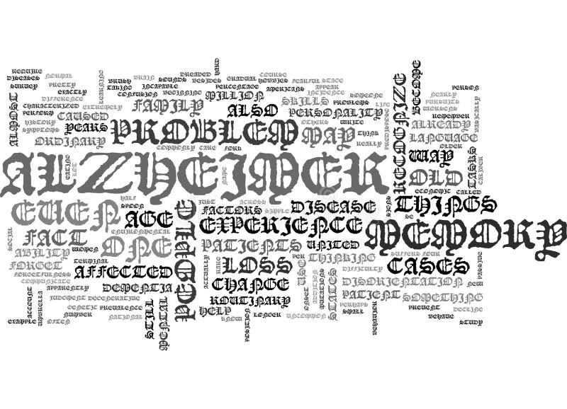 Cuál es exactamente nube de la palabra de Alzheimer ilustración del vector