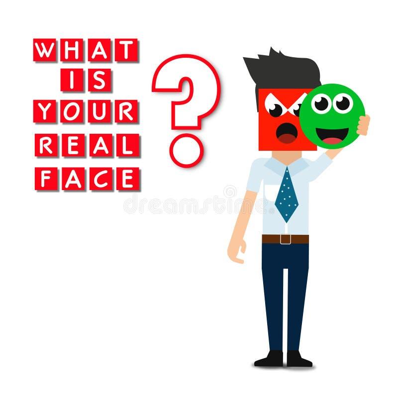 Cuál es su cara real, cartel abstracto del negocio de la calidad estupenda stock de ilustración