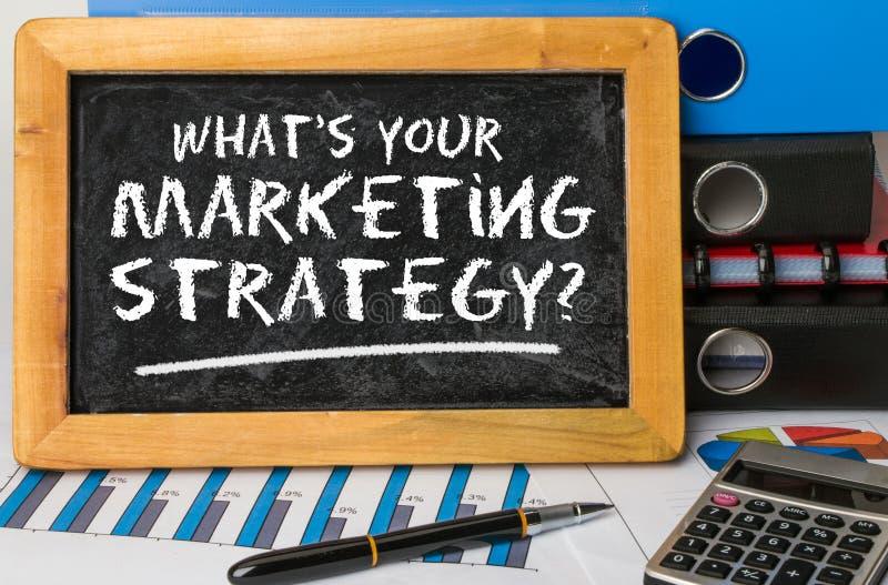 Cuál es su estrategia de marketing foto de archivo