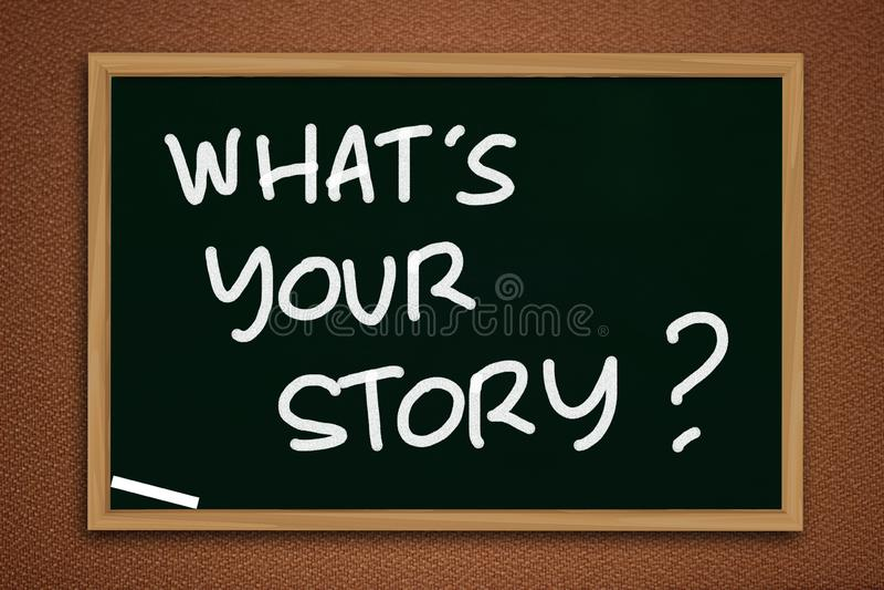 Cuál es su historia, las citas inspiradas de motivación fotografía de archivo
