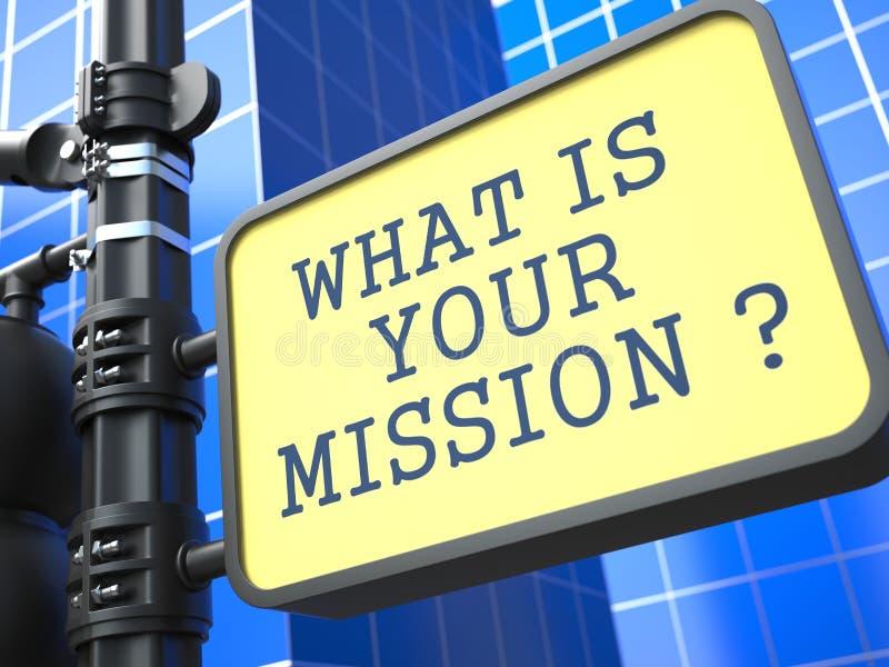 ¿Cuál es su misión? ilustración del vector