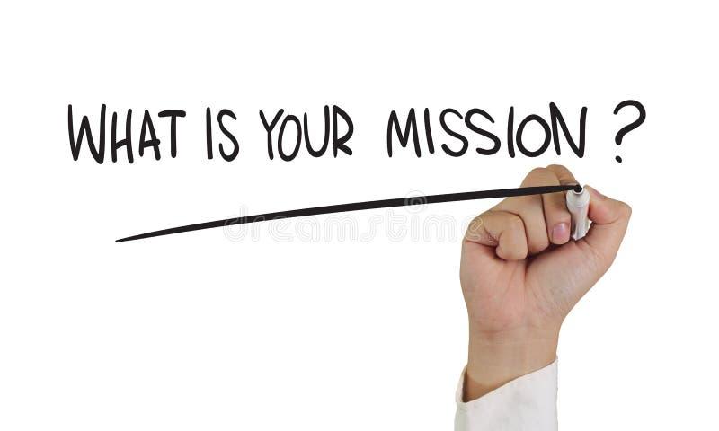 ¿Cuál es su misión? foto de archivo