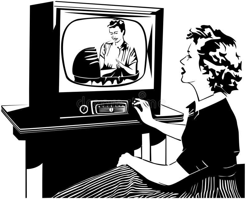 Cuál está en la TV ilustración del vector