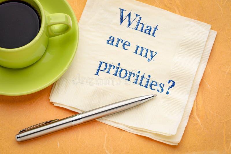 Cuáles son mis prioridades imagenes de archivo