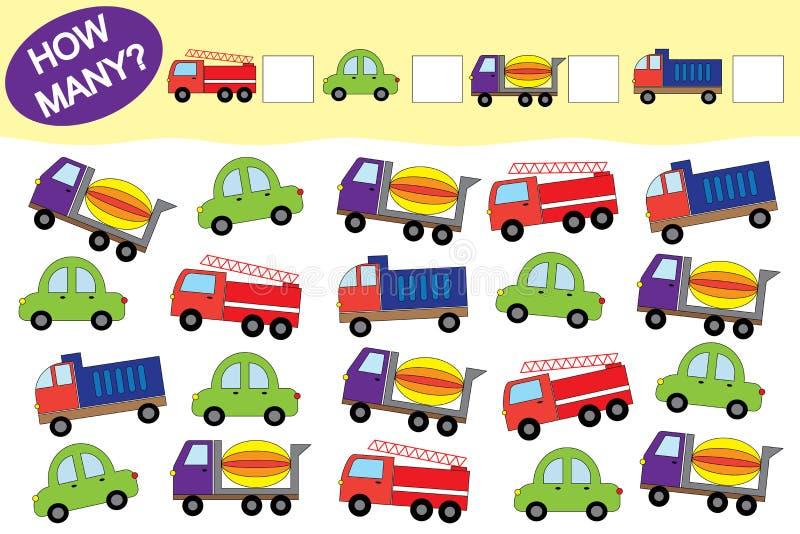 Cuántos objetos del transporte Juego educativo para los niños stock de ilustración