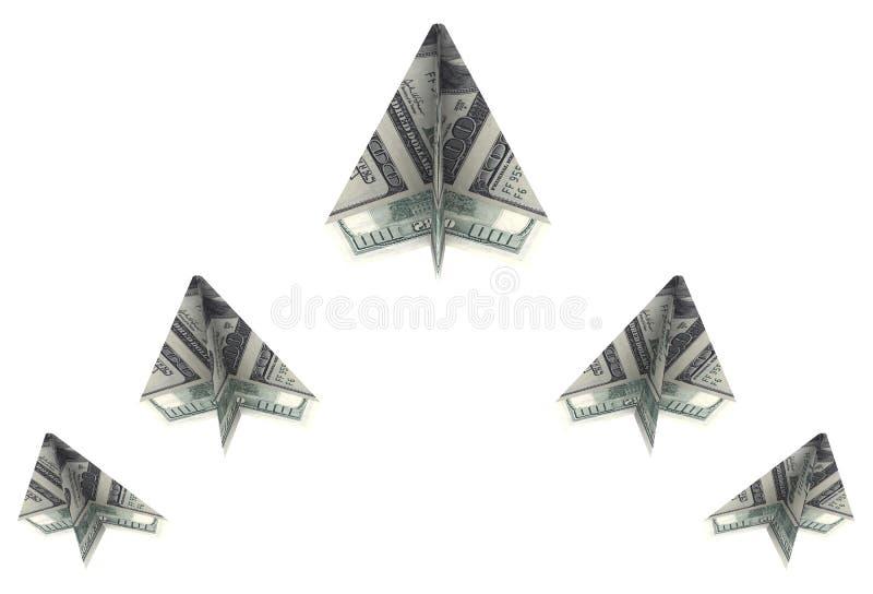 Cuña de los dólares de los aeroplanos de papel hacia fuera stock de ilustración