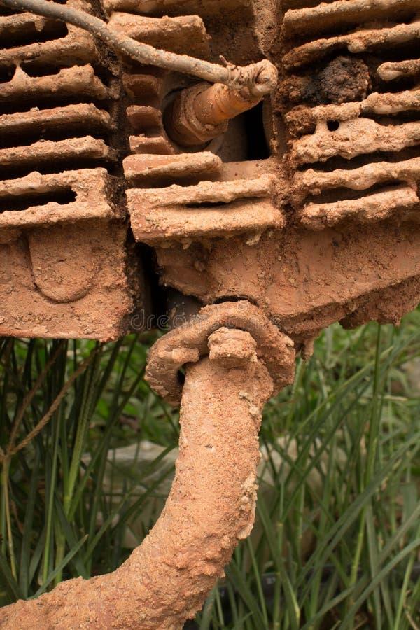 CU błotnisty silnik z zasychającymi chłodniczymi żebrami i wierzchołek wydmuchowa drymba na lekkim motocyklu w Azja obrazy royalty free