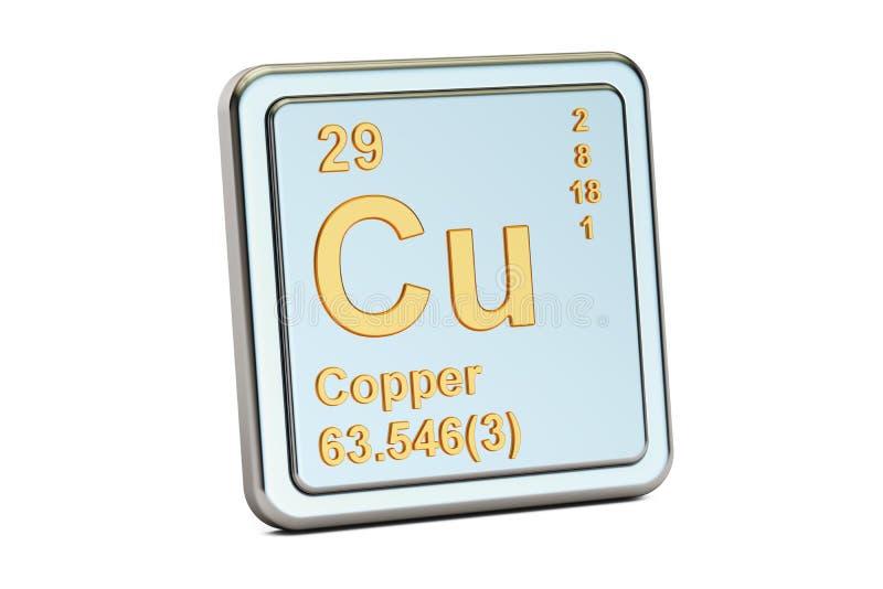 Cu de cobre, sinal do elemento químico rendição 3d ilustração royalty free