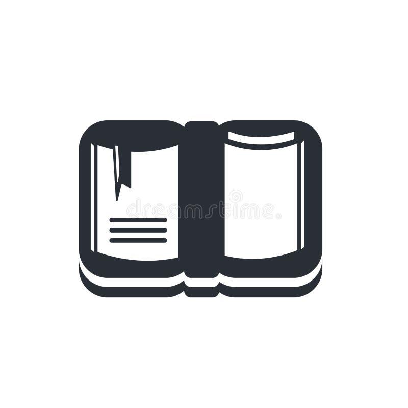Cuaderno abierto con la muestra y el símbolo del vector del icono de la señal aislados en el fondo blanco, cuaderno abierto con c ilustración del vector