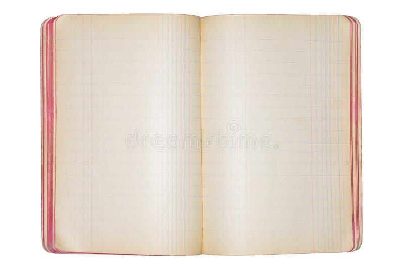 Cuaderno abierto del espacio en blanco del vintage imágenes de archivo libres de regalías