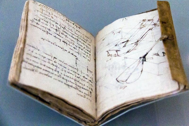 Cuaderno (códice Forster I2), 1490-3, por Leonardo Da Vinci fotografía de archivo libre de regalías