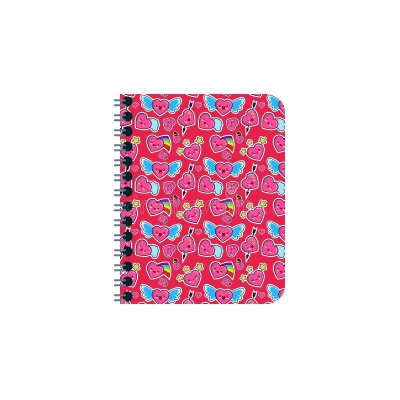 Cuaderno cerrado, diario personal en un espiral con las señales Con una textura brillante de la cubierta con diverso corazón de l libre illustration