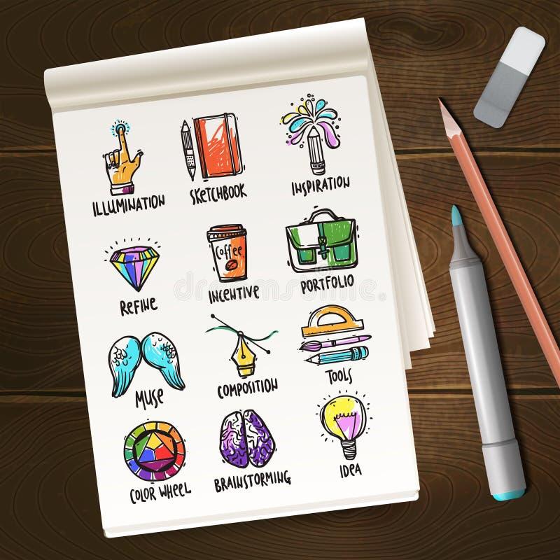 Cuaderno con bosquejos de proceso creativos libre illustration