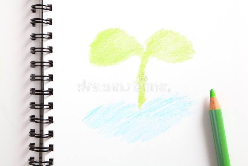Cuaderno con el árbol joven verde y el lápiz verde fotos de archivo libres de regalías
