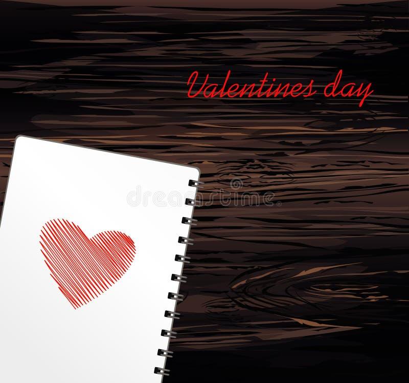 Cuaderno con el corazón rojo a mano de la plantilla Vector en fondo de madera Tarjeta de felicitación el día de fiesta Rose roja  libre illustration