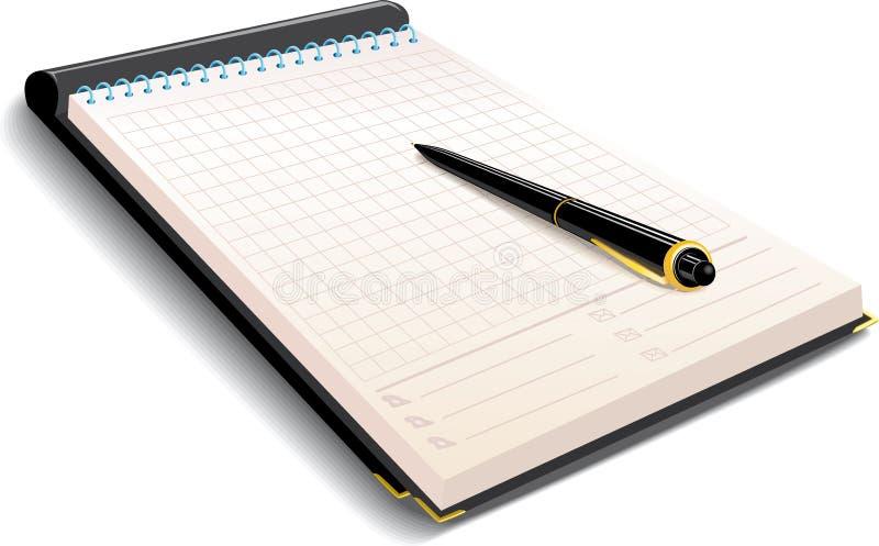Cuaderno con la pluma ilustración del vector