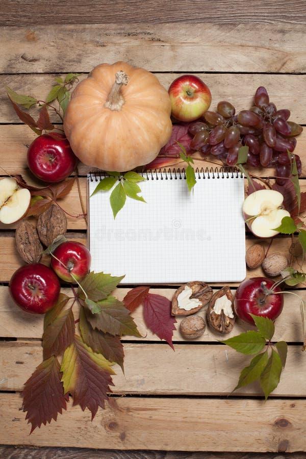 Cuaderno con las frutas del otoño imagenes de archivo