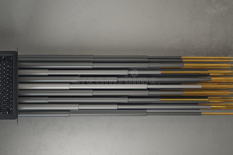 Cuaderno con las líneas grises de la conexión ilustración del vector