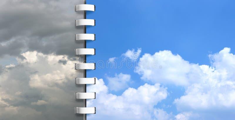 Cuaderno con las paginaciones de los cielos fotografía de archivo