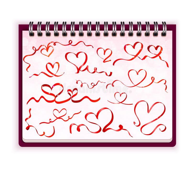 Cuaderno con vector rojo de los corazones de la cinta stock de ilustración