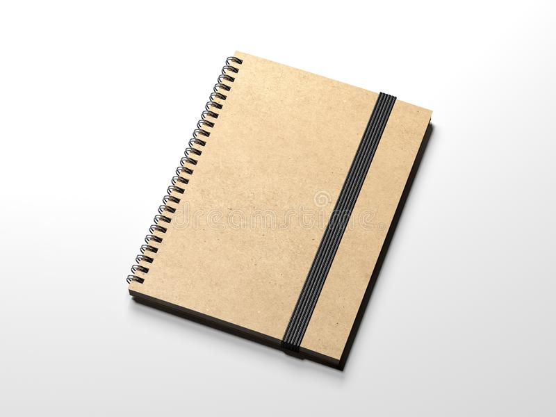 Cuaderno de Brown con la banda del blackrubber representación 3d libre illustration