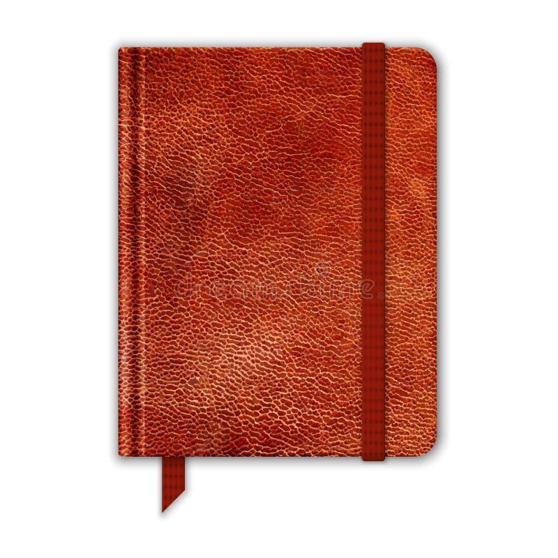 Cuaderno de cuero natural. Cuaderno con la banda y la señal libre illustration