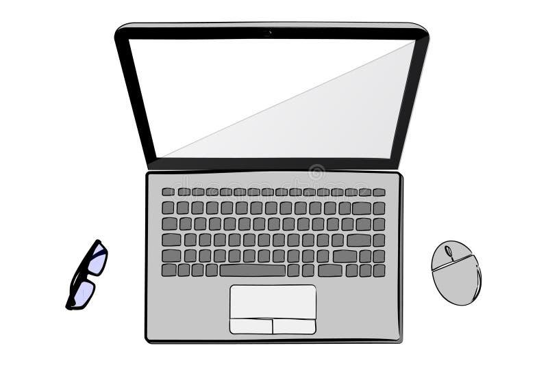 Cuaderno de la endecha plana o de la visión superior con el ratón inalámbrico y la lente ilustración del vector