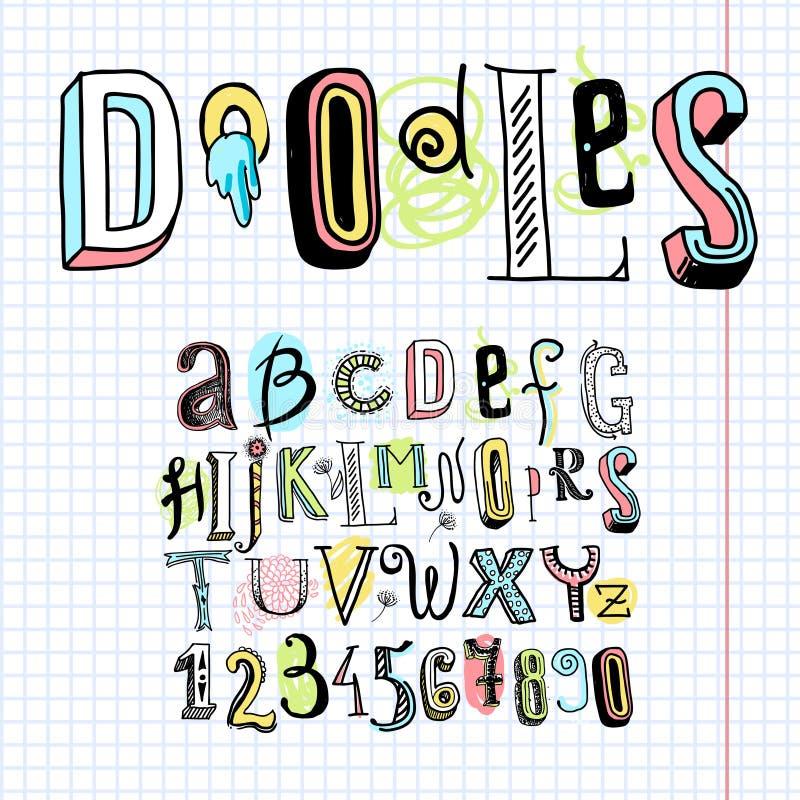 Cuaderno de la fuente del alfabeto del garabato stock de ilustración