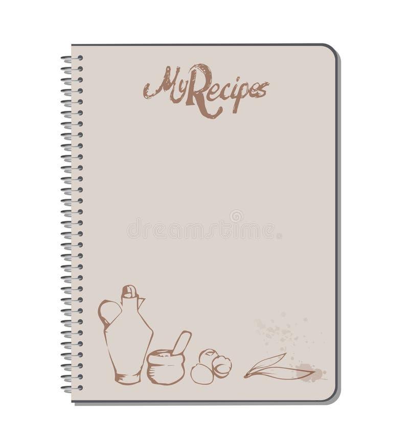 Cuaderno de la receta con el texto, la aceitera, el mortero, los huevos y las hojas dibujados mano de la aceituna manchas de los  libre illustration