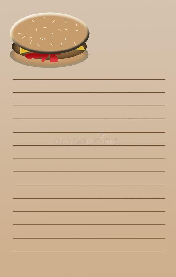Cuaderno de notas del cheeseburger imágenes de archivo libres de regalías
