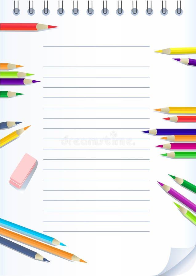 Cuaderno de papel con los lápices del color stock de ilustración