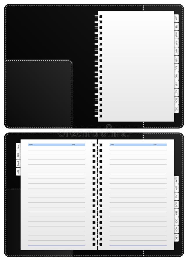 Cuaderno del diario, carpeta de anillo stock de ilustración