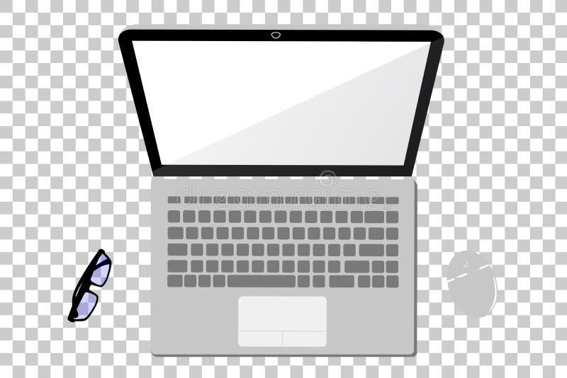 Cuaderno del espacio en blanco de la endecha plana o de la visión superior, lente y ratón de la radio, en el fondo transparente d ilustración del vector