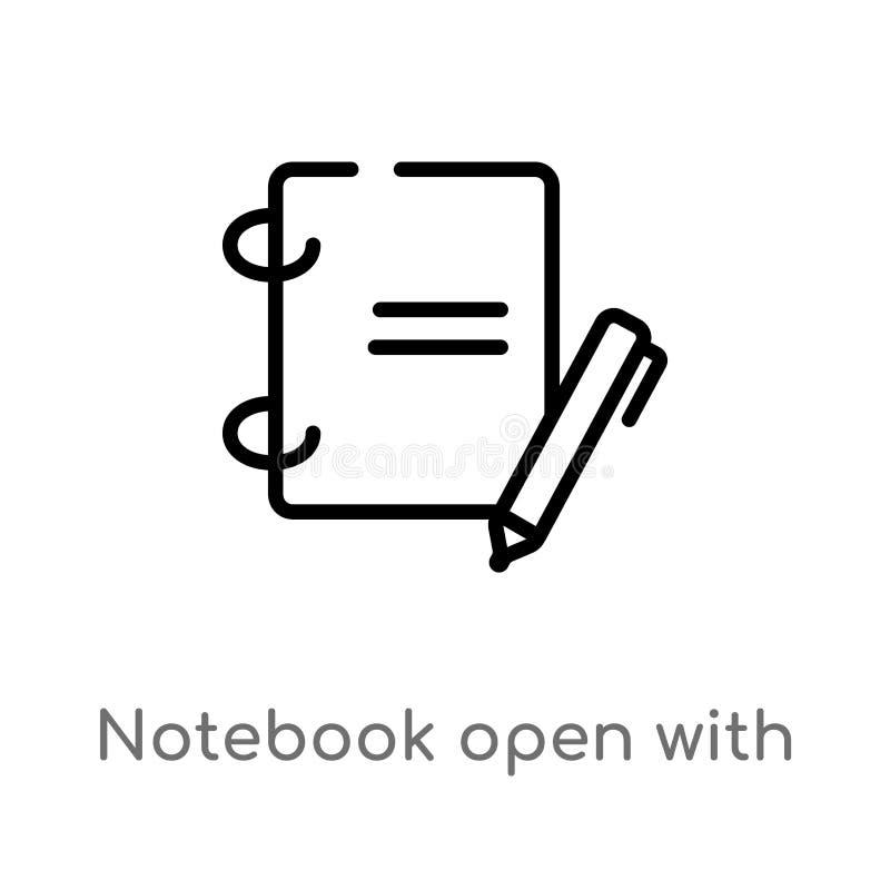 cuaderno del esquema abierto con el icono del vector de la señal línea simple negra aislada ejemplo del elemento del concepto de  stock de ilustración
