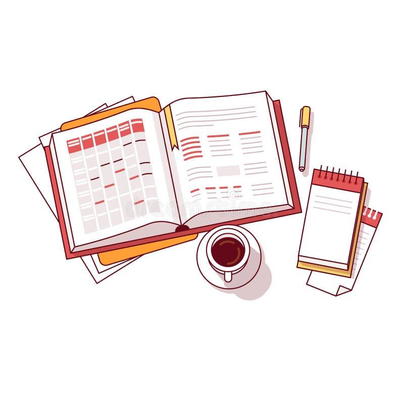 Cuaderno del horario del día de la mañana del hombre de negocios ilustración del vector