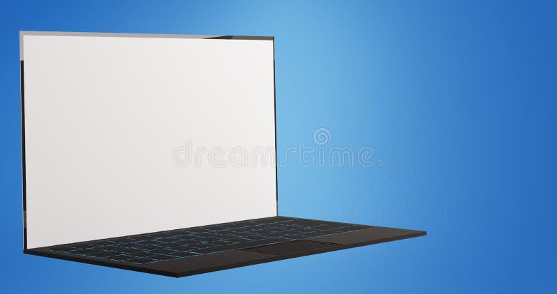 Cuaderno del ordenador portátil del ordenador en el fondo azul 3d-illustration stock de ilustración