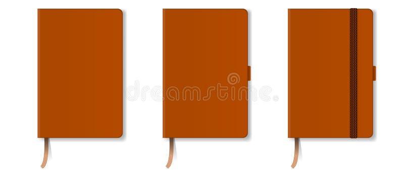 Cuaderno duro realista anaranjado de la cubierta con la señal y la cinta rojas Ilustración del vector stock de ilustración