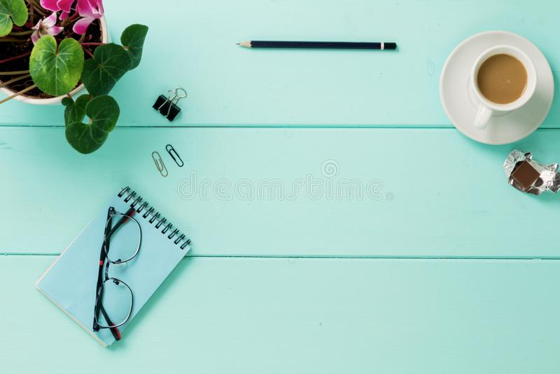 Cuaderno en blanco con la flor, visión superior fotografía de archivo libre de regalías