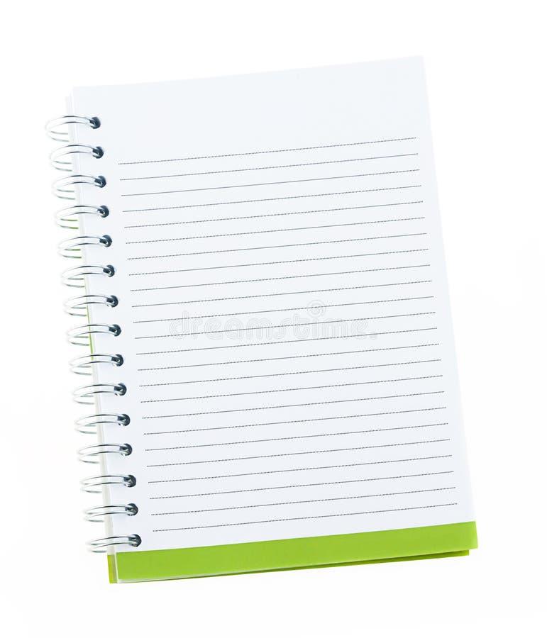 Cuaderno en blanco con los agujeros de carpeta de anillo aislados en blanco fotos de archivo