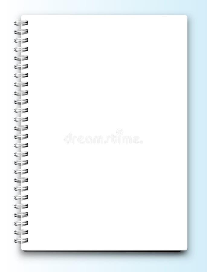Cuaderno en blanco del vector aislado en blanco ilustración del vector