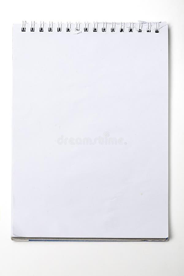 Cuaderno en blanco usado con la carpeta de anillo en blanco fotografía de archivo libre de regalías